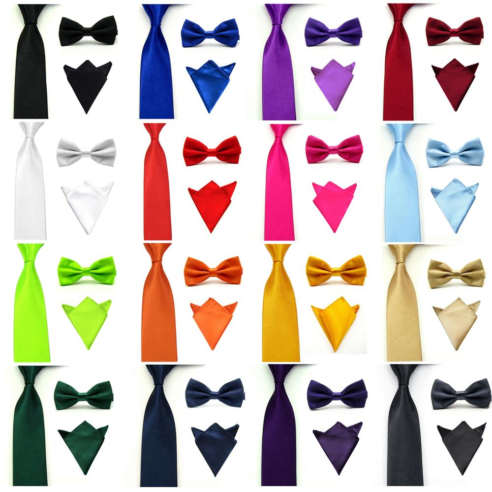 Men Satin Solid Color Bowtie Bow Tie Necktie Handkerchief Pocket Square Set