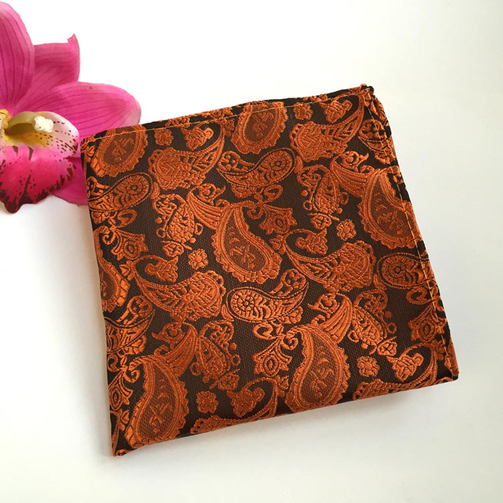Men Paisley Floral Black Orange Necktie Pocket Square Handkerchief Set Lot HZ063