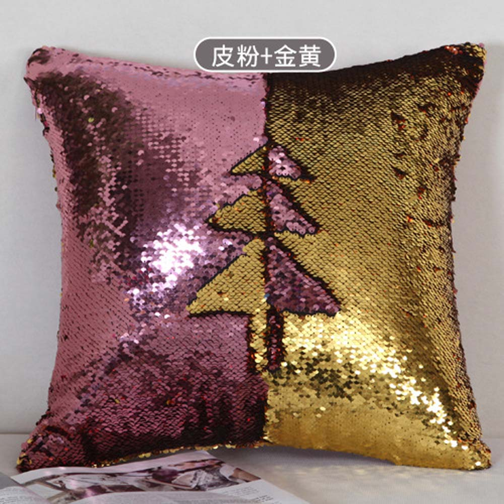 Fashion Double Color Shiny Sequins Cushion Cover Office Home Pillow Case FN260