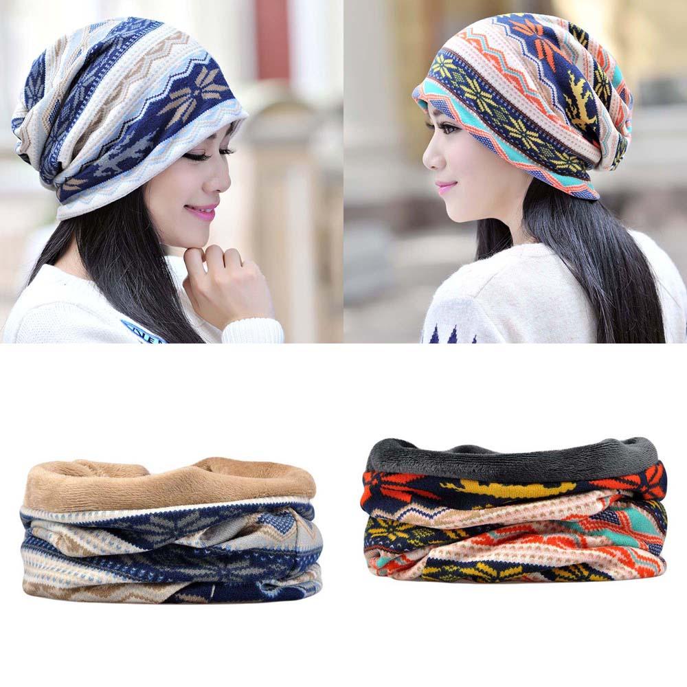 Men Women Casual Oversized Hat Soft Warm Slouchy Beanie Cap Neck Scarf Multi-Use