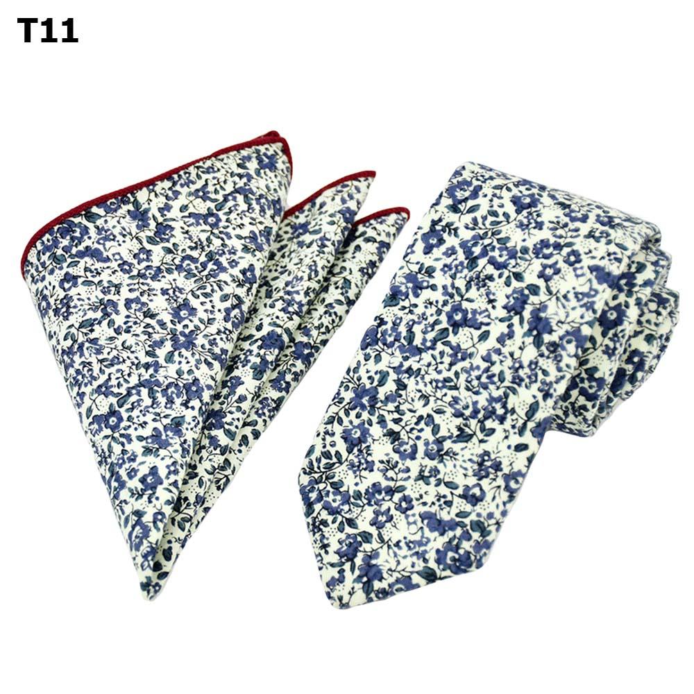 Men's Necktie Set Floral Flower Pattern Ties Handkerchief Pocket Square Neck Tie