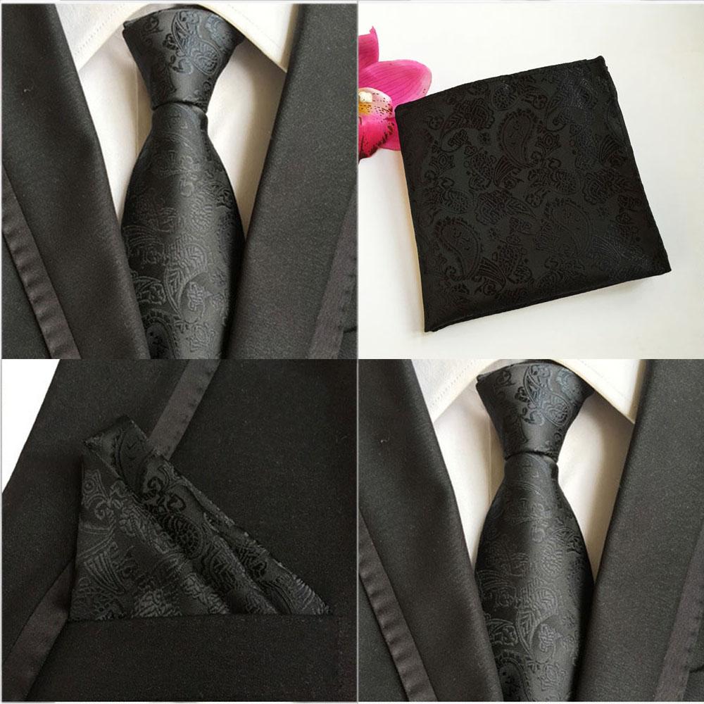 Men Fashion Gray Paisley Flower Tie Pocket Square Handkerchief Set Lot HZ079
