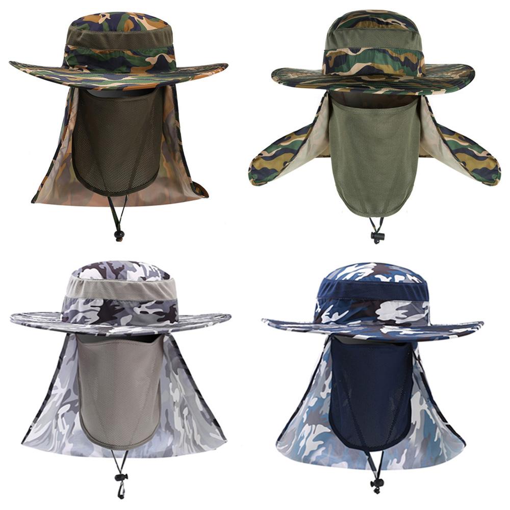 Men's Wide Brim Bucket Hat Summer Camouflage Hats Sun Protection Fishing Cap