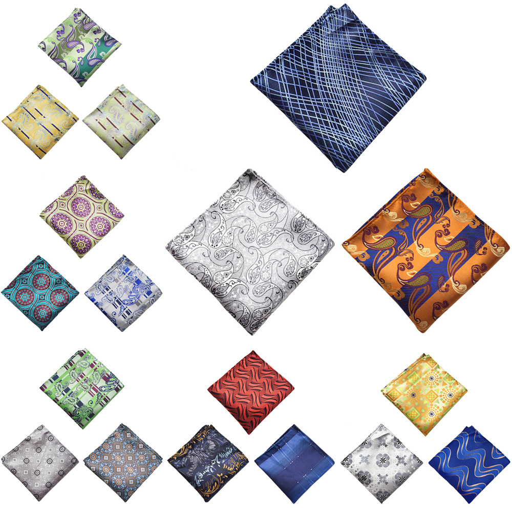 42 Colors Men Pocket Square Handkerchief Silk Paisley Floral Hanky Wedding Party