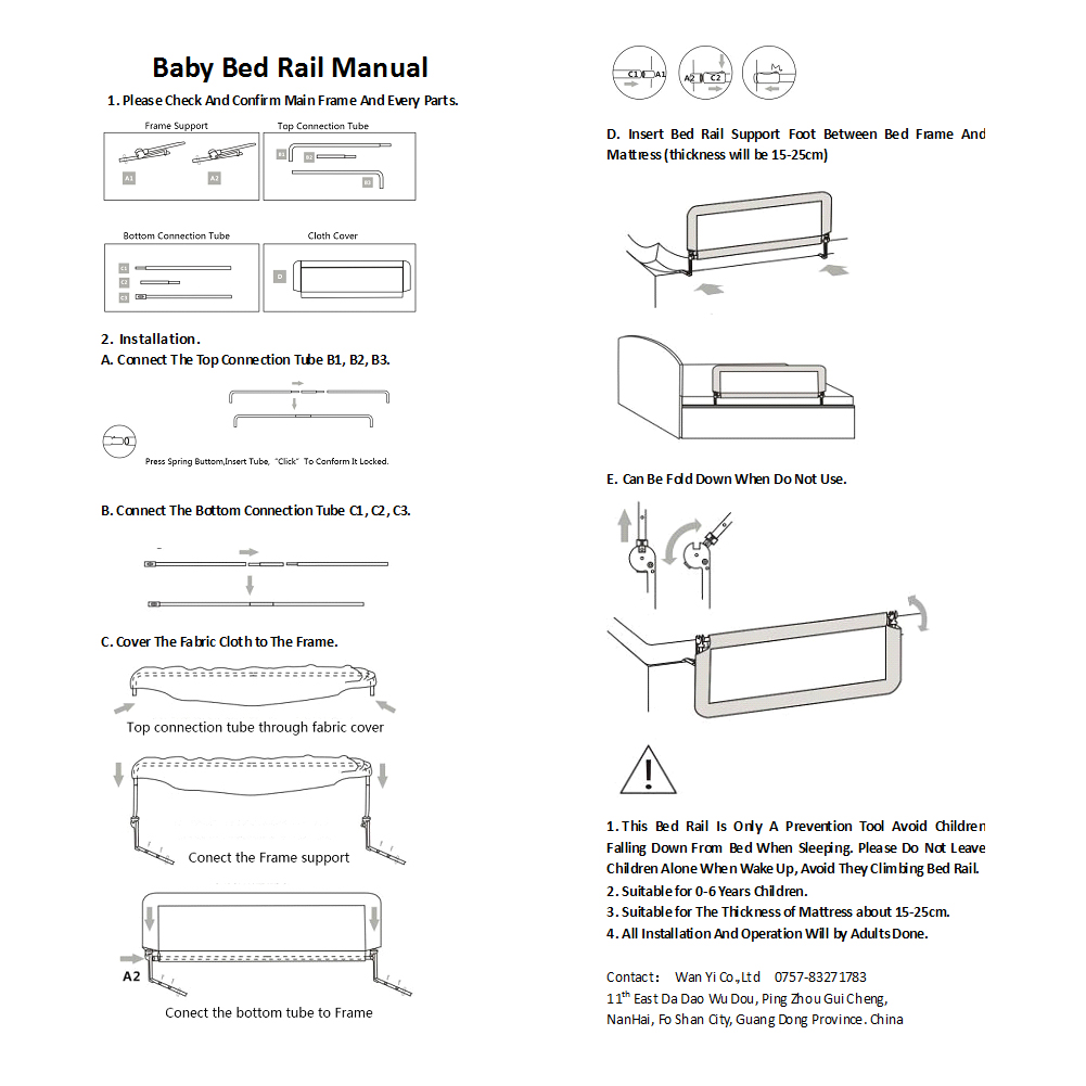 1x Child Safety Bed Rail Guard Protection