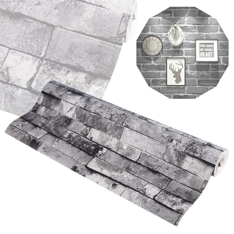 Steintapete grau vlies  Wandtapete Steintapete Mauer Optik 3D Grau Vlies Brick Muster ...