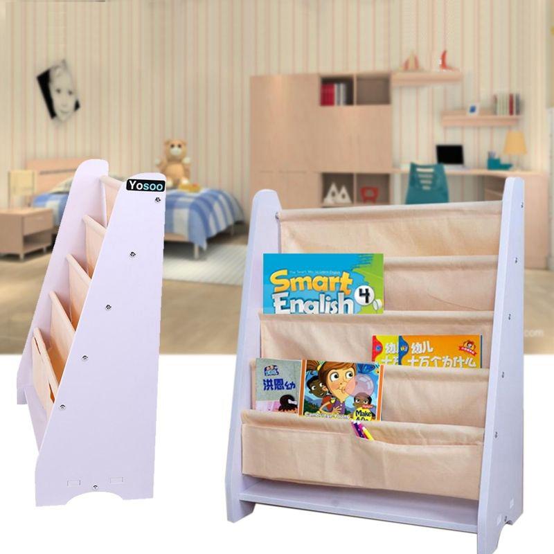 kinder b cherregal kinderregal segeltuch standregal kinderzimmer regal wei gelb ebay. Black Bedroom Furniture Sets. Home Design Ideas