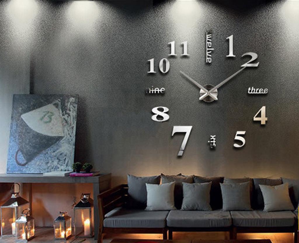 Diy deko xxl 3d stylisch design wanduhr wohnzimmer wanduhr spiegel ...