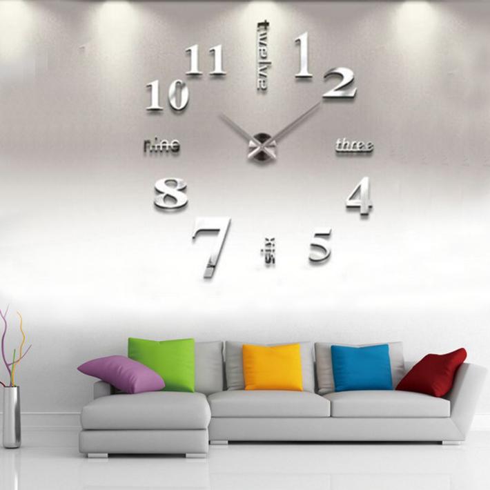 Wanduhr Designer Wand Deko Uhr Spiegel Wandtattoo XXL 3D Wohnzimmer In Silber SD