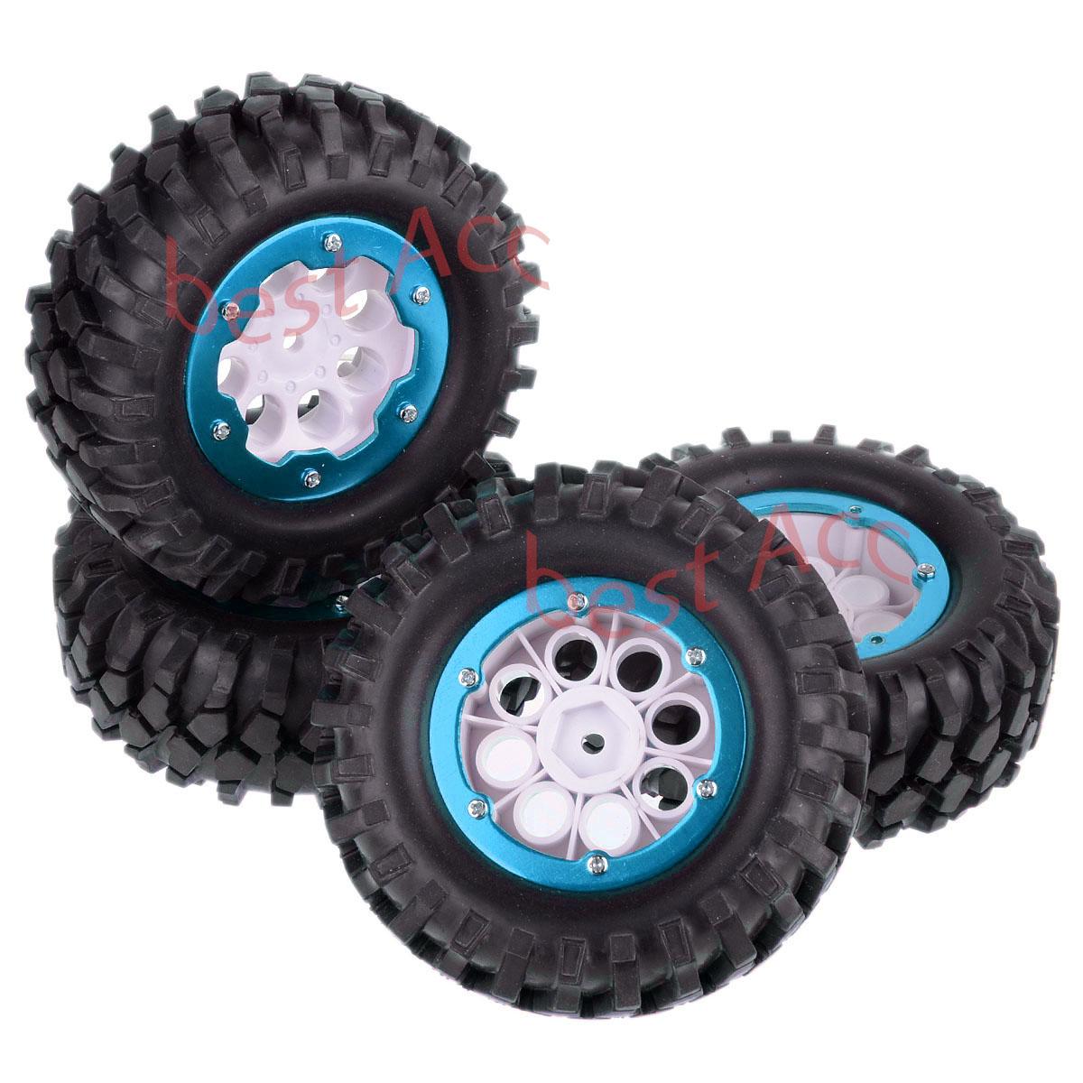 "1.9/"" Alloy Wheels/& Tires 96MM Silver 4x for 1//10 Racing Climbing Axial SCX10 Car"