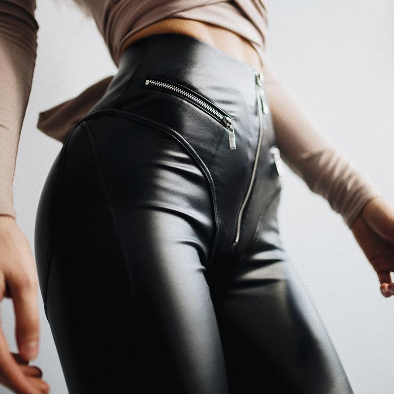 Damen Hose Kunst-Lederhose Jeans Röhre Leggings Leder-Optik