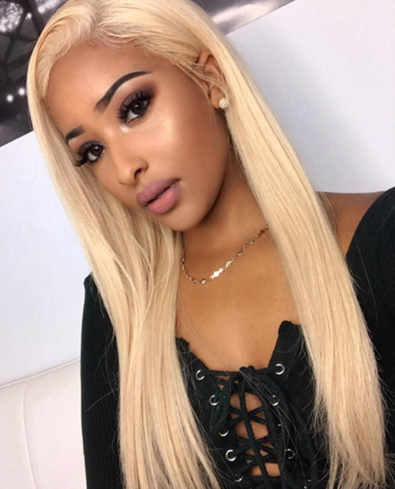 Details about light Blonde Straight Human Hair Lace Front Wig 613 Straight  Lace Wig For Women e8fd46c234