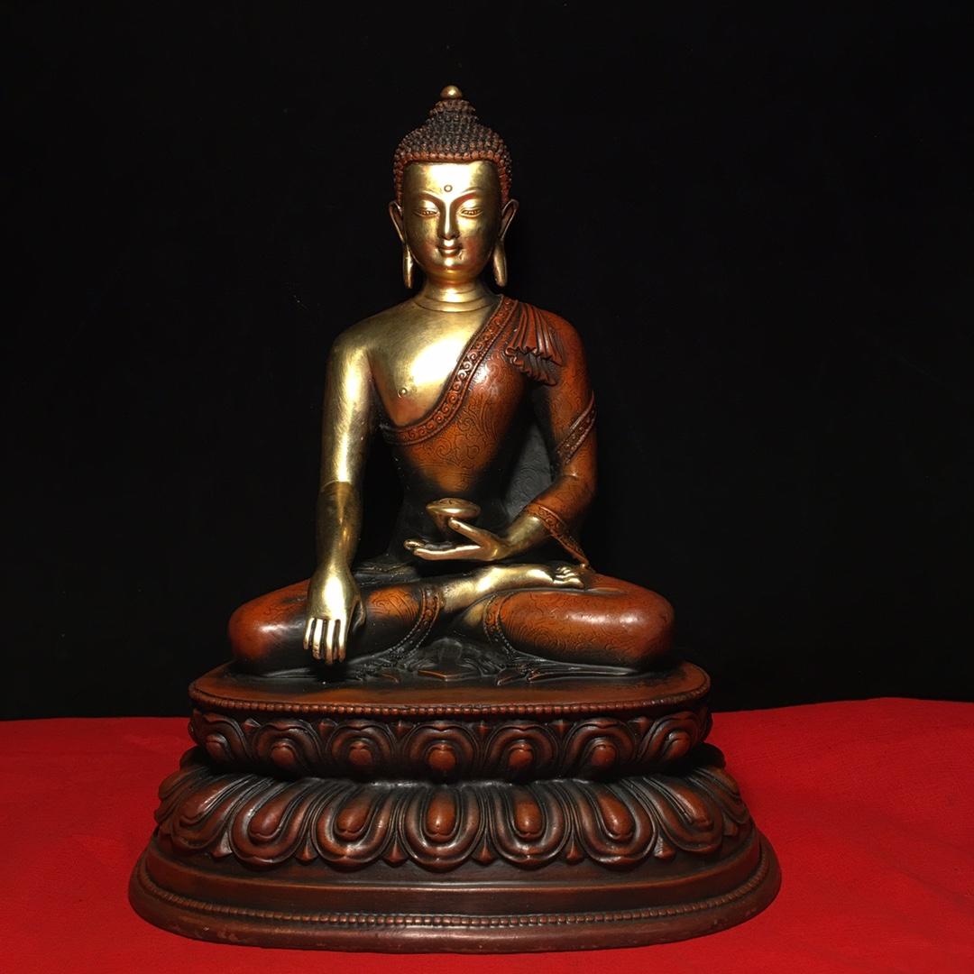"""8/"""" Chinese Tibet old antique bronze gilt gold handmade Shakyamuni Buddha statue"""