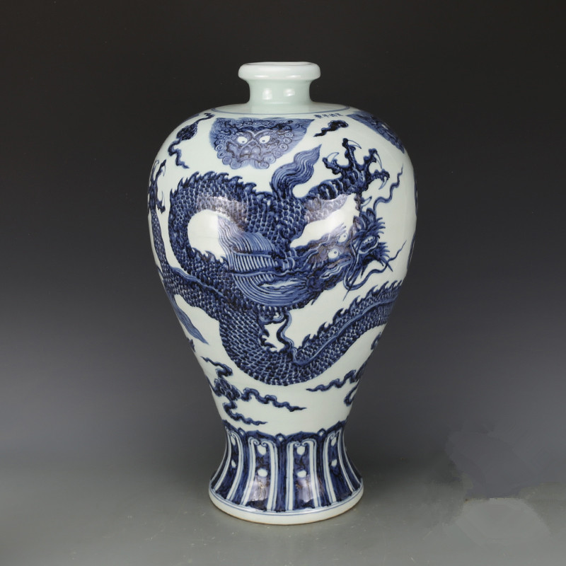 China Old Antique Porcelain Ming Xuande White Blue Hand Painting