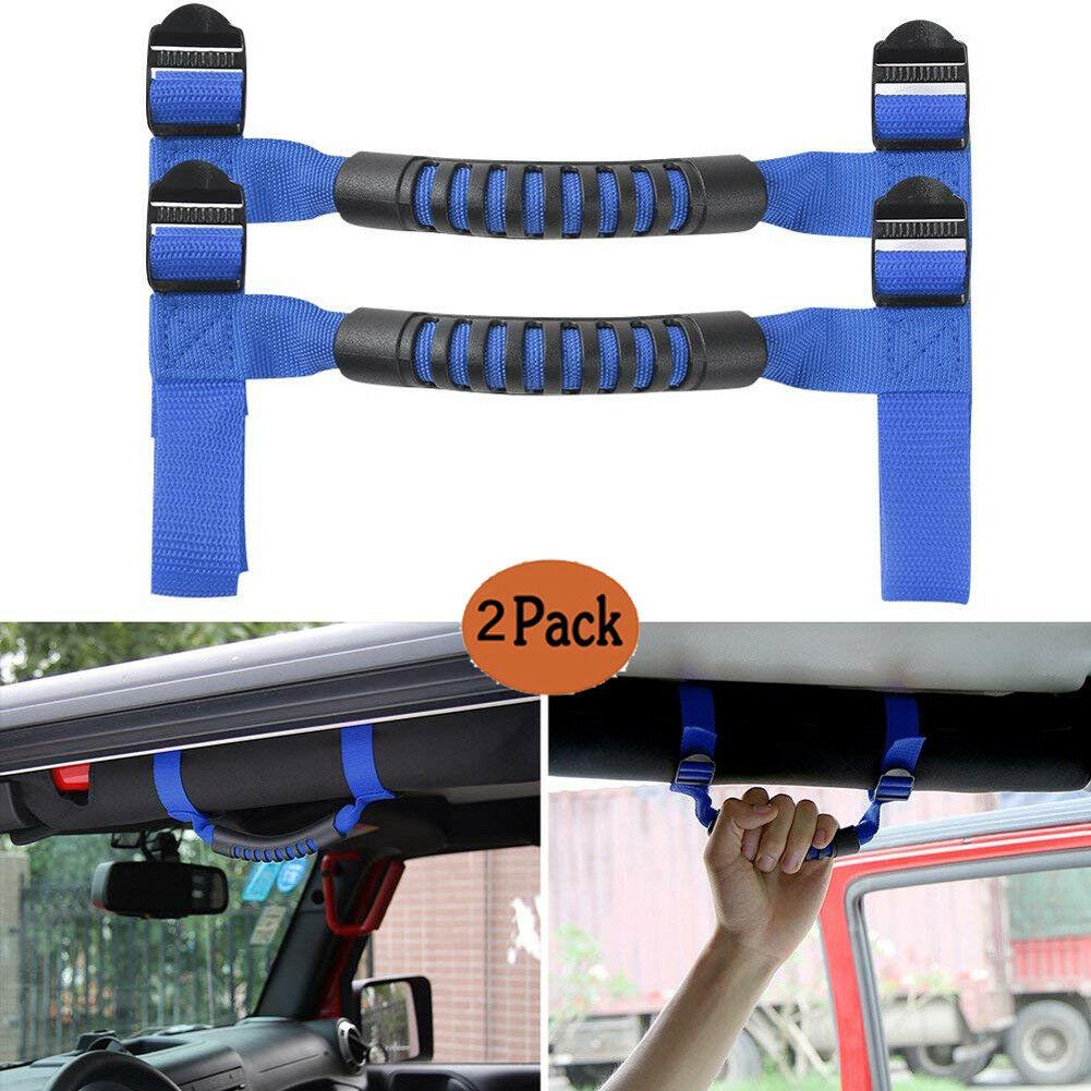 Set of 4 Black Rear Side Interior Roll Grab Bar Handle For Jeep Wrangler JK Auto