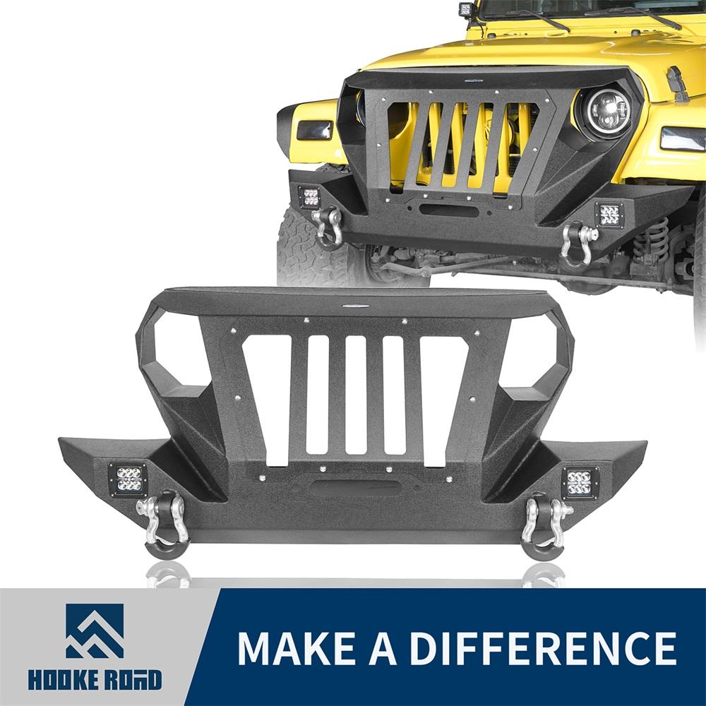 Hooke Road Front Bumper w// Built-in Winch Plate For Jeep Wrangler TJ 97-06