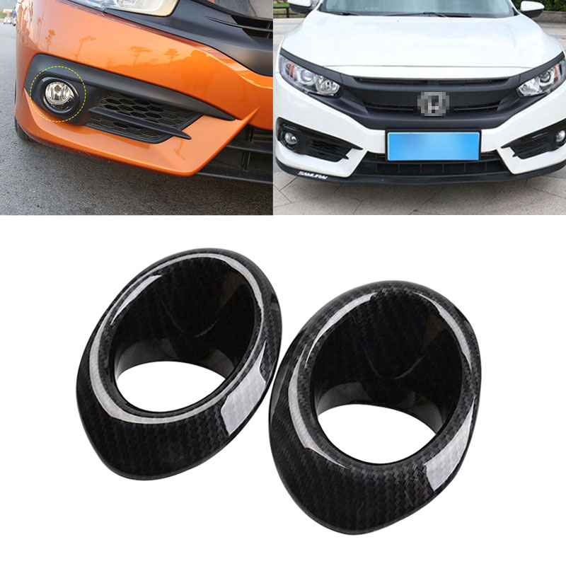 Carbon Fiber Rear Fog Light Lamp Cover Trim Black For Honda Civic 2016-2018