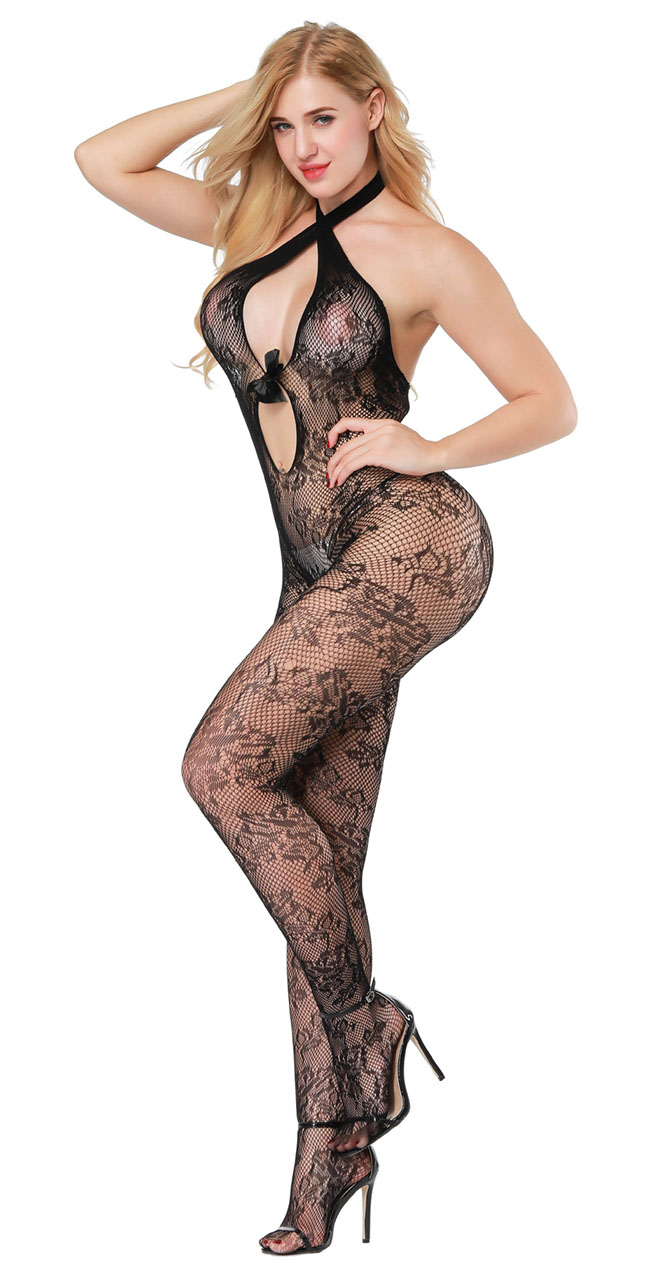 91752374740 Lady Sexy Black Bow Floral Body Stockings Sheer Lace Bodysuit Nightwear  Lingerie