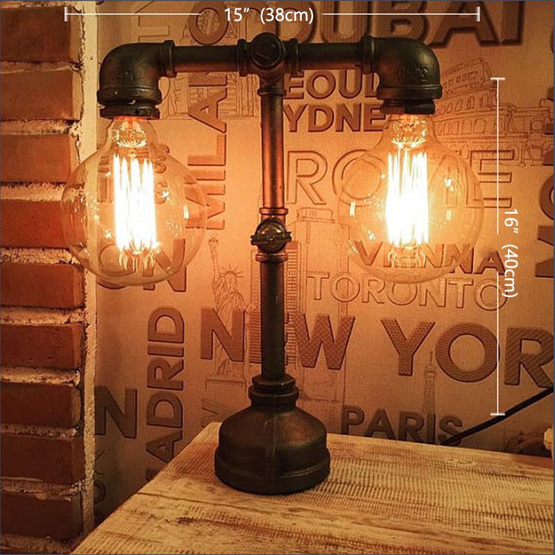 edison bulb,college,dorm,desk,table Retro Industrial Pipe Lamp steampunk style