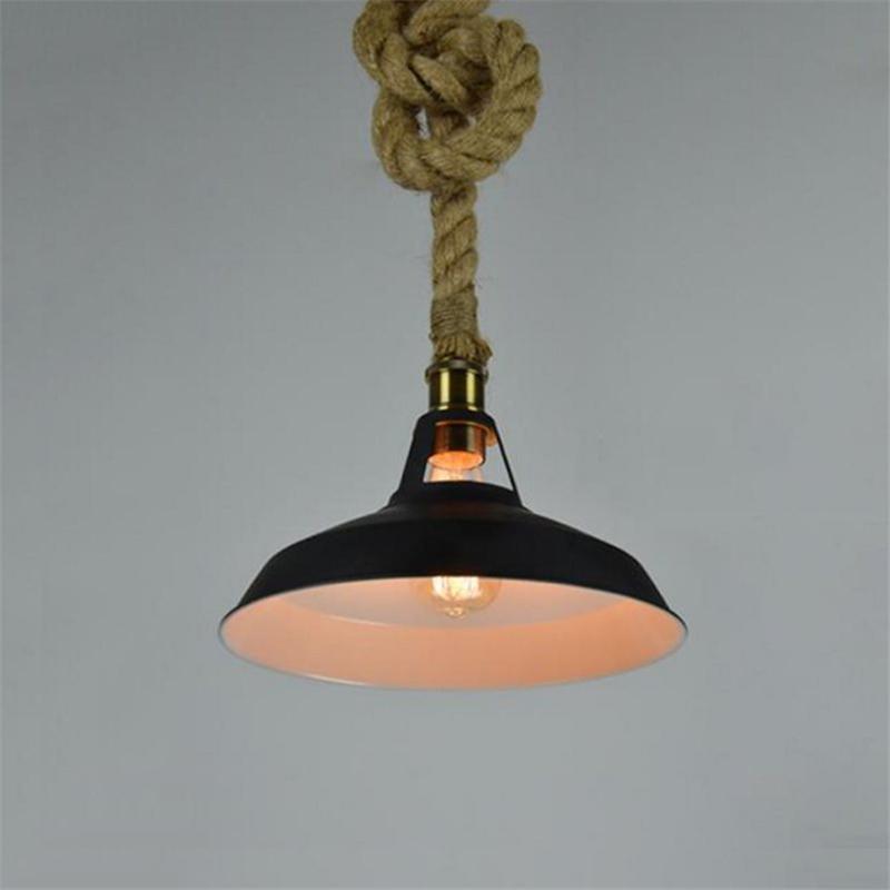 Industrial Farmhouse Hemp Rope Chain Hanging Lamp Retro