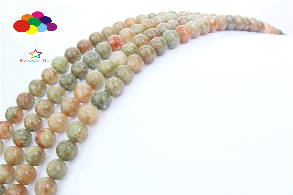 Newest 4//6//8//10//12mm Natural Stone Flower green Round Loose beads fit bracelet