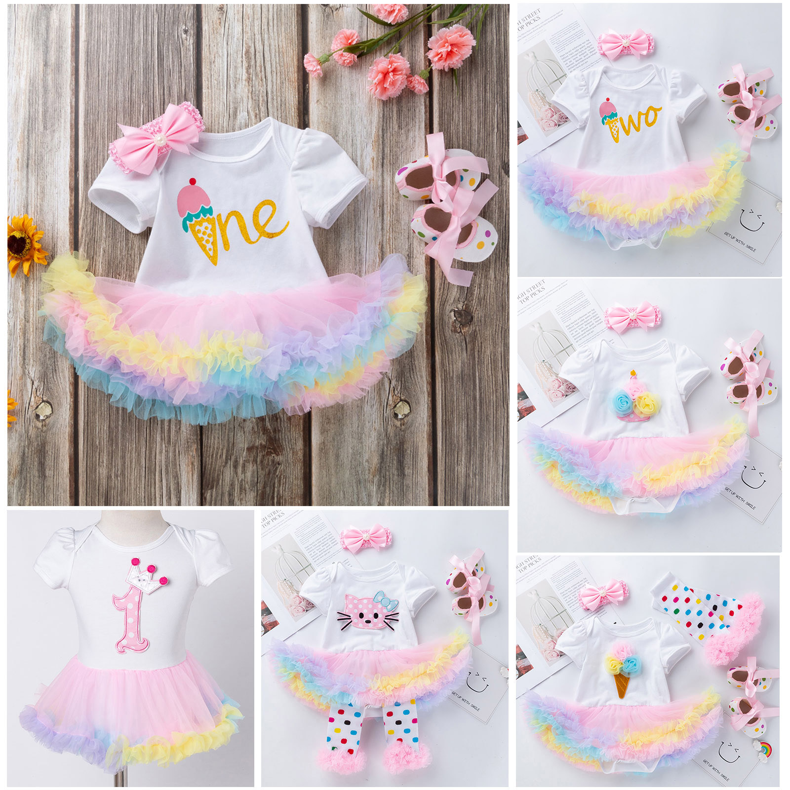 Newborn Baby Girls Clothes Shamrock Rompers Tutu Tulle Skirt and Headband Outfits Set