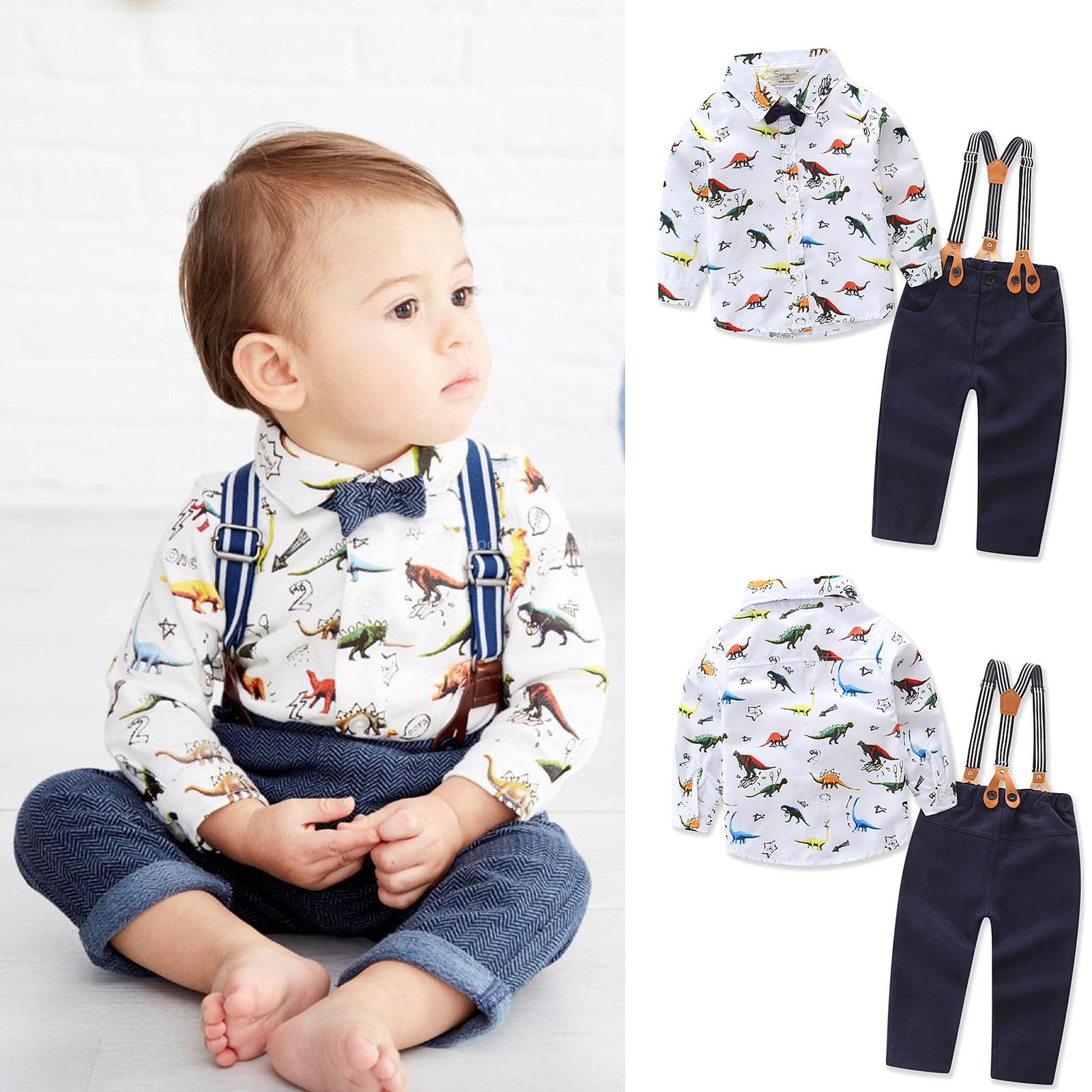 2Pcs Toddler Baby Boys Kids Gentleman Bow Shirt Tops Denim Pants Clothes Outfits