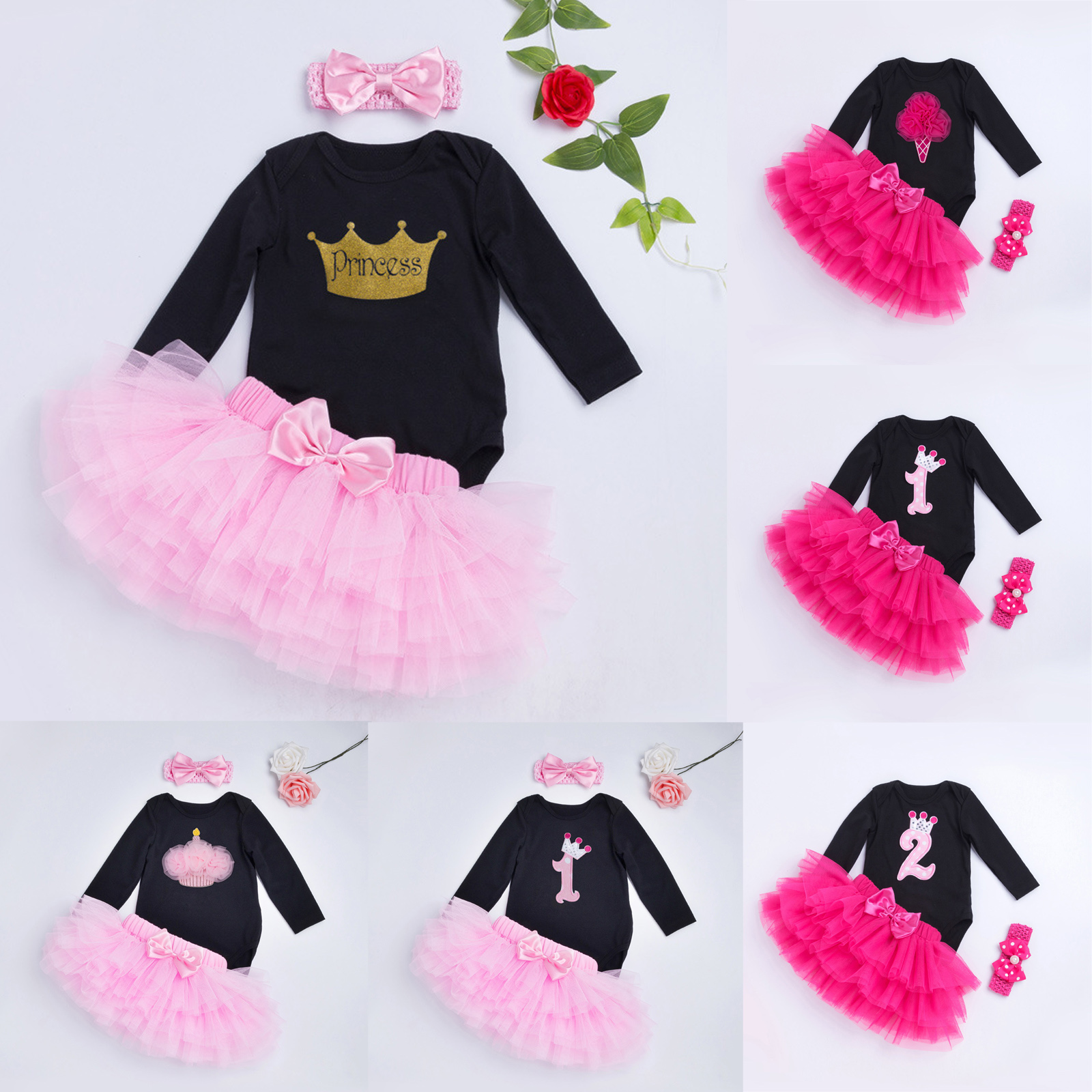 04cdde07b5c Details about Baby Girl Birthday Outfits Clothes Long Sleeve Romper Tops  Tutu Skirt Dress 3PCS
