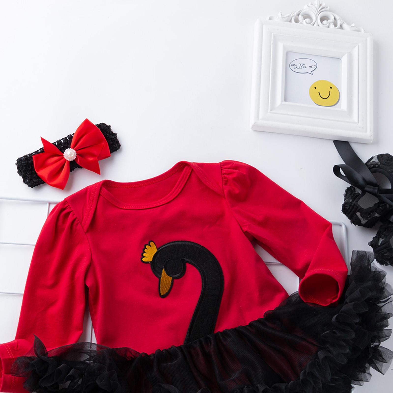 Baby Girls Ballet Dance Dress Set Swan Costume Tutu Dress Shoes Headband Outfits