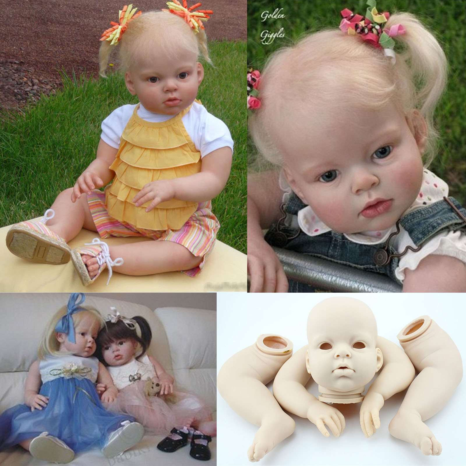 "Unpainted Reborn Baby Dolls Kits Realistic Looking Reborn Kits Supplies 22/"" Doll"