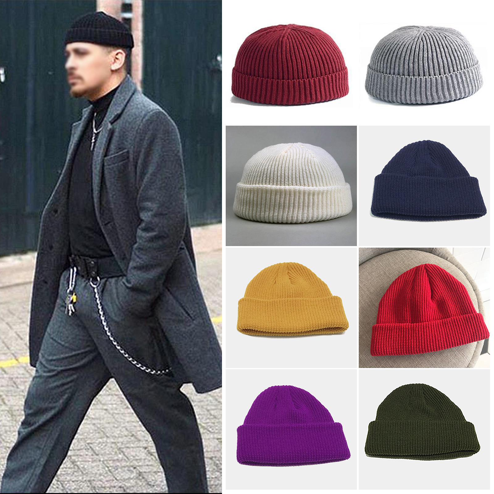 e2193cacc55f5 Details about Womwn Men Knitted Beanie Skullcap Sailor Cap Cuff Brimless  Navy Fashion Warm Hat