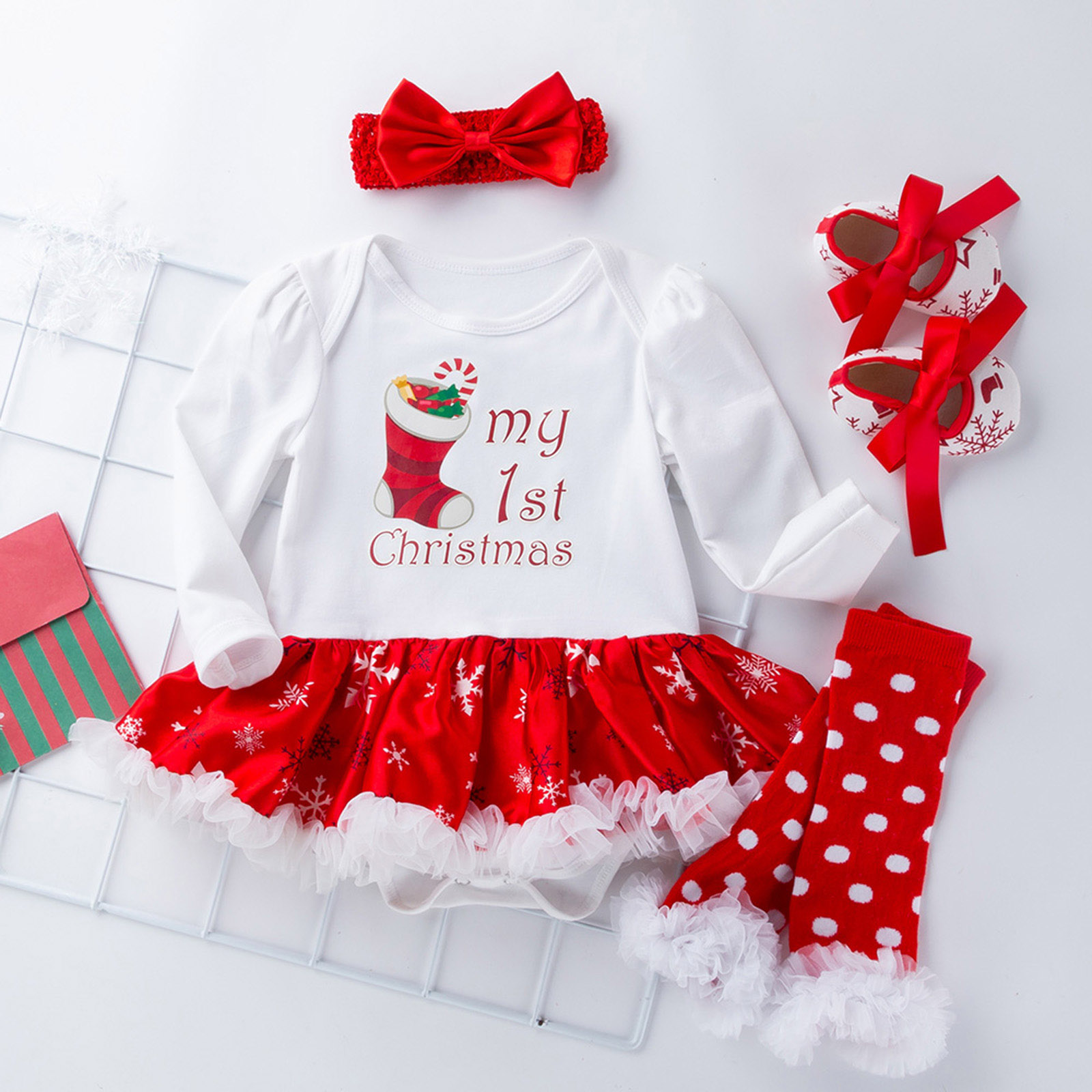 Newborn Infant Baby Girls Xmas Party Tutu Dress Kids Romper Outfits ...