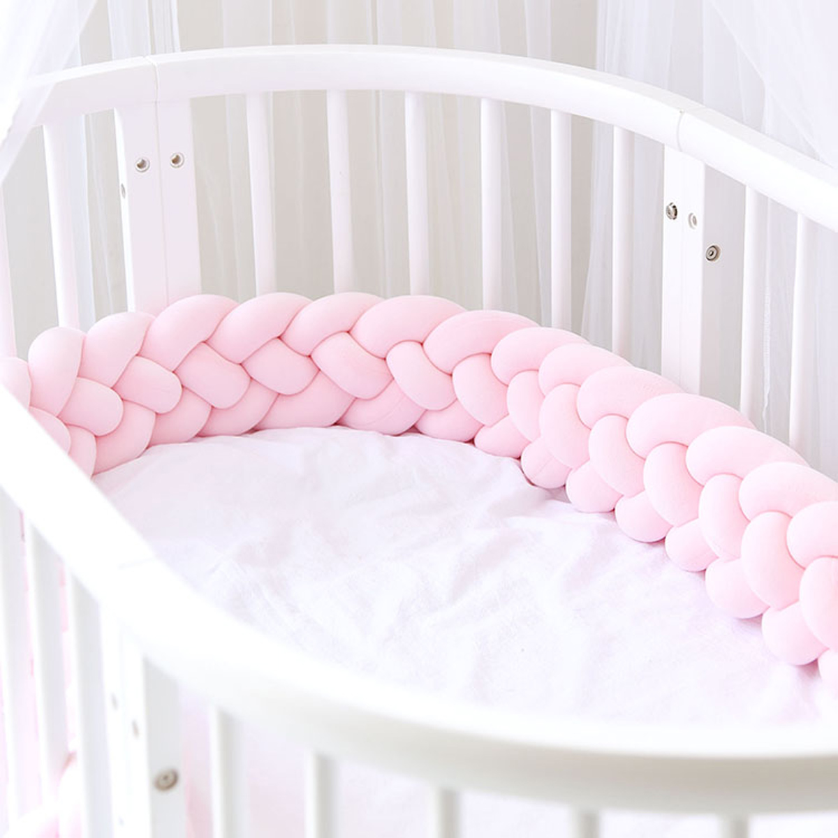Soft Knit Plush Pillow Baby Crib Bedside Protector White Powder Blue Green 4 Strands 3M Knotted Braided Plush Bumper Nursery Cradle Newborn Gift Nursery Decor Baby Bedding Bumpers Baby Bumpers