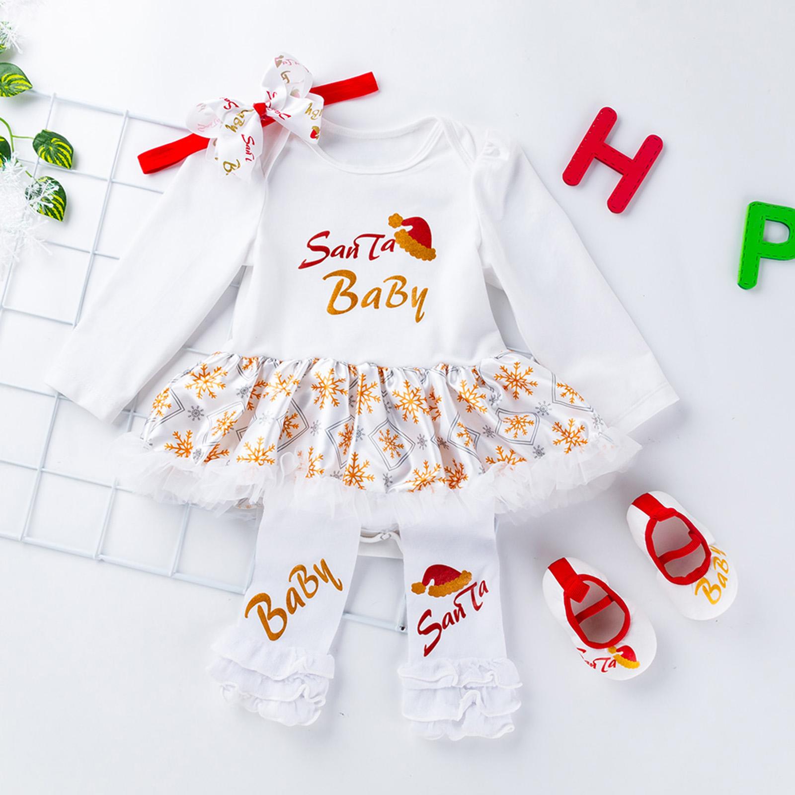 4PCS Newborn Infant Baby Girls Tutu Dress Headband Outfits Christmas ...