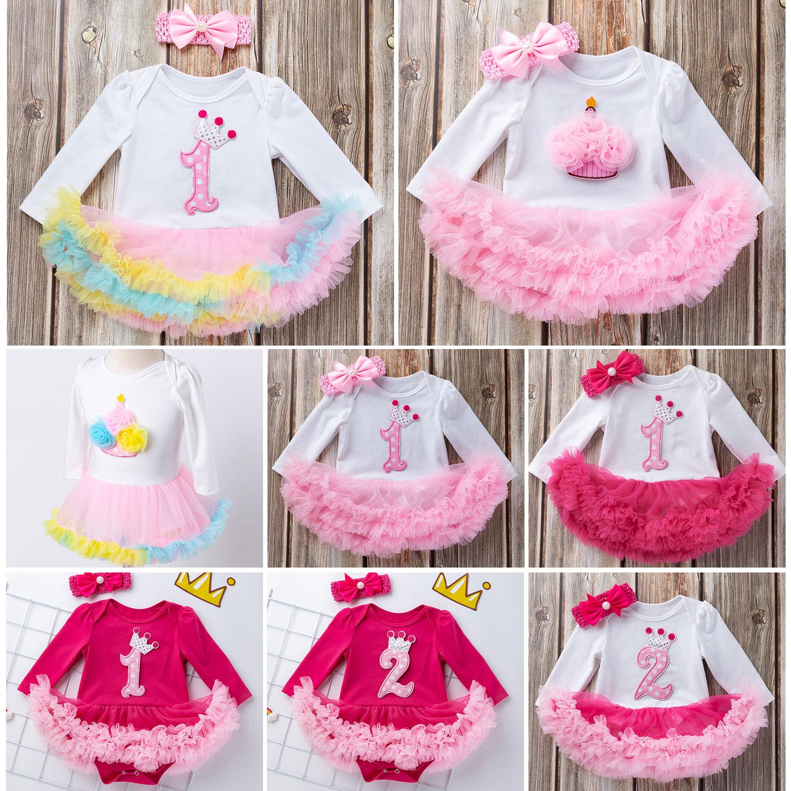 Headband Outfits Newborn Kids Birthday Clothes Set 2PCS Baby Girls Tutu Dress