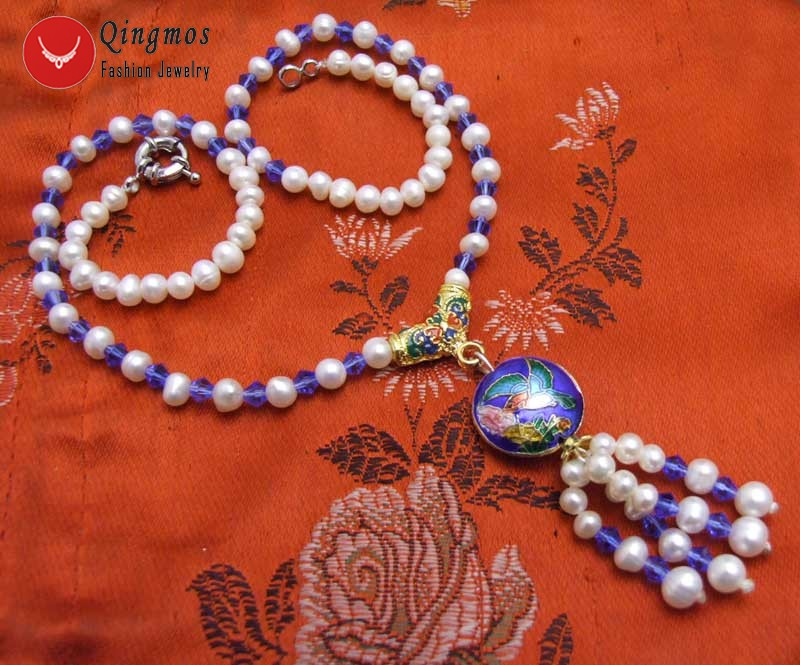 5-6mm White Round Pearl Pendant Necklace 18/'/' Chokers /& Blue Crystal Cloisonne