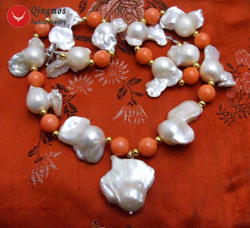 """20-35mm White Baroque Nuclear Pearl Pendant Necklace Women Pink Coral Choker 17/"""""""
