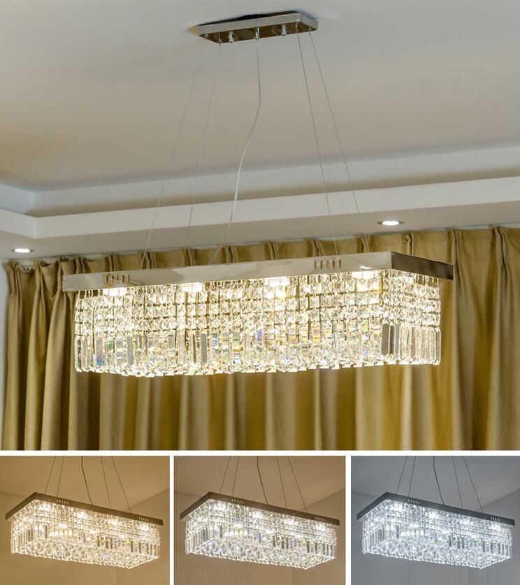 Modern Rectangle K9 Crystal Chandelier Dining Room Kitchen Ceiling Light 80CM