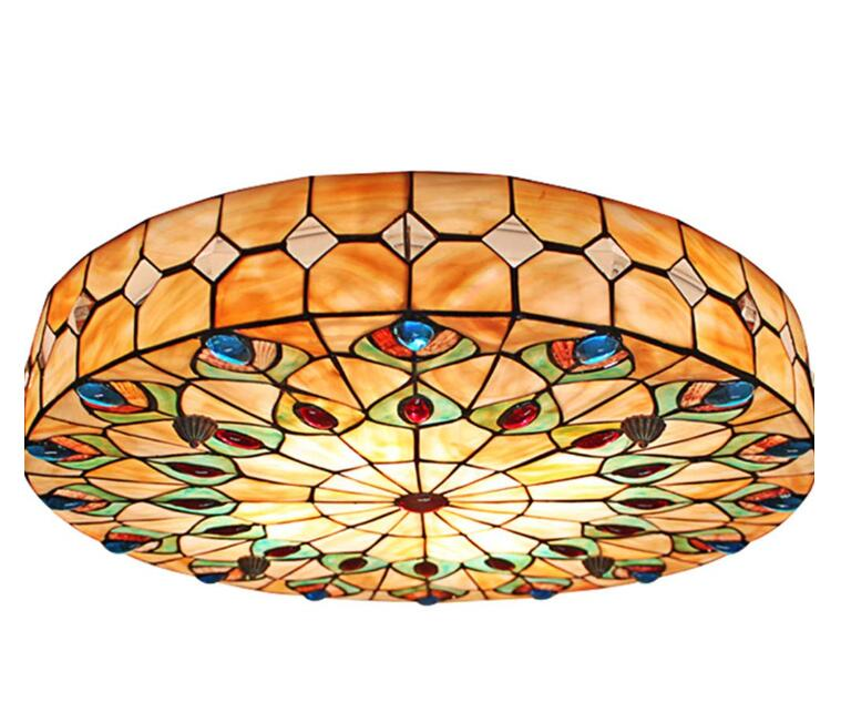 Details About European Pea Tail Flush Mount Lights Tiffany Stained Gl Ceiling Lamp
