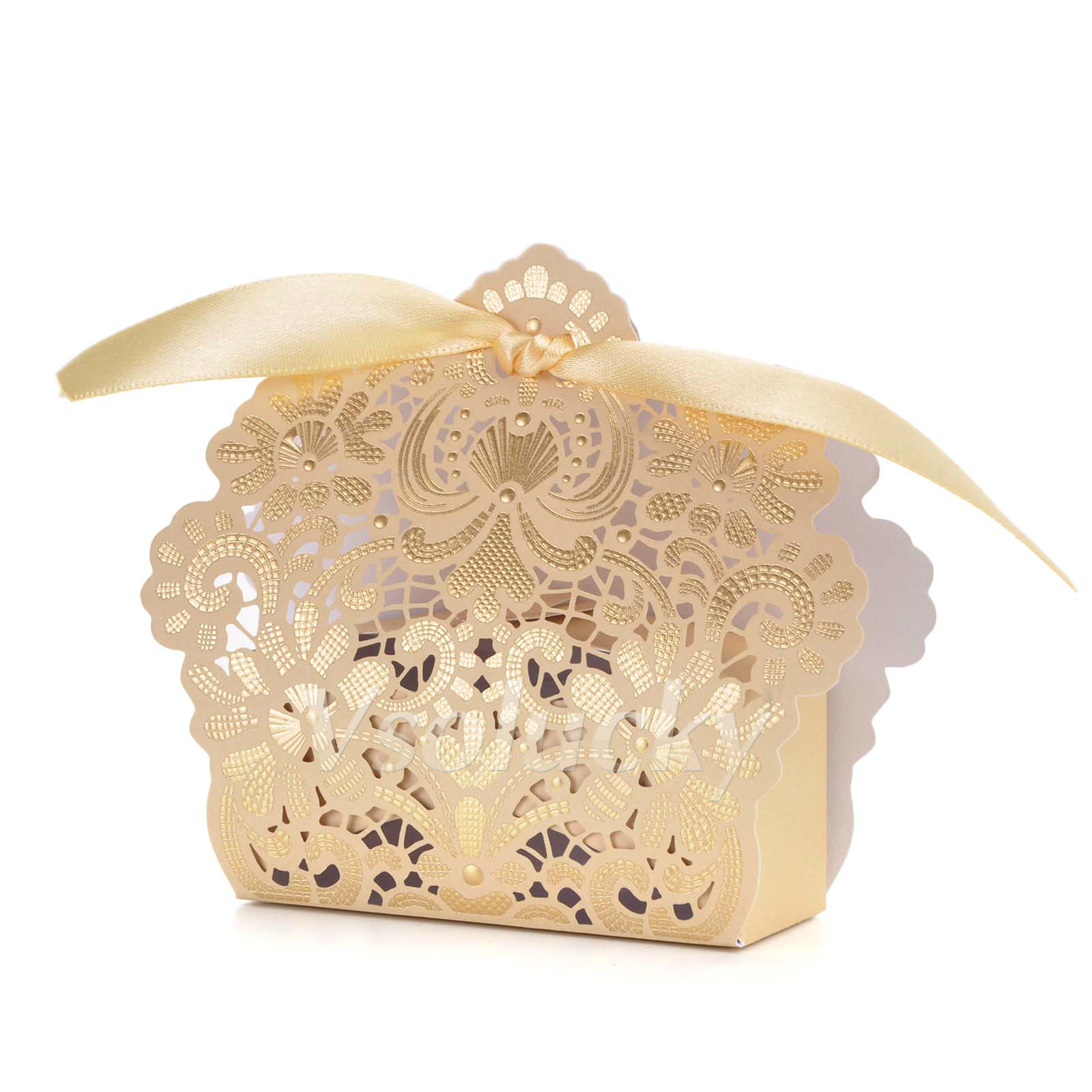Goldred Wedding Favor Box Gift Bags Rose Laser Cut Hollow Candy Box