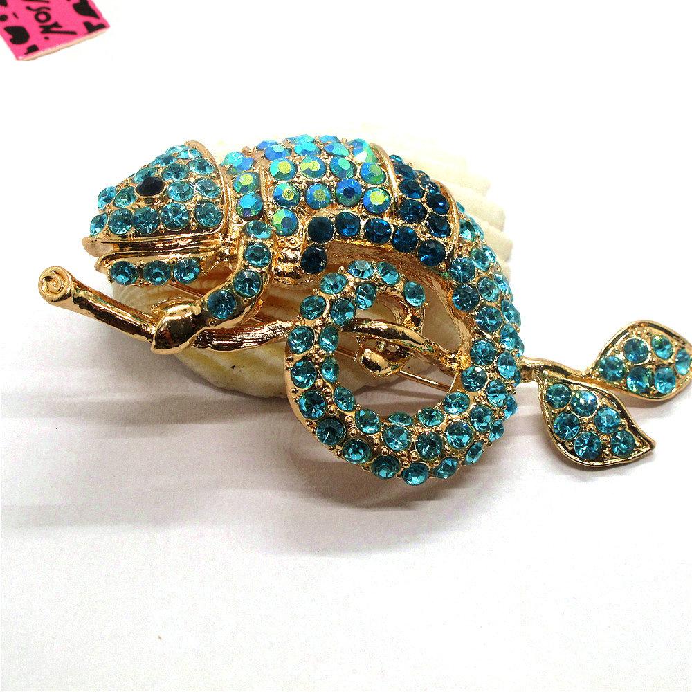 Pin By Crystal Johnson On Baldwin Hills Dam Break: Hot Betsey Johnson Rhinestone Blue Branch Gecko Crystal
