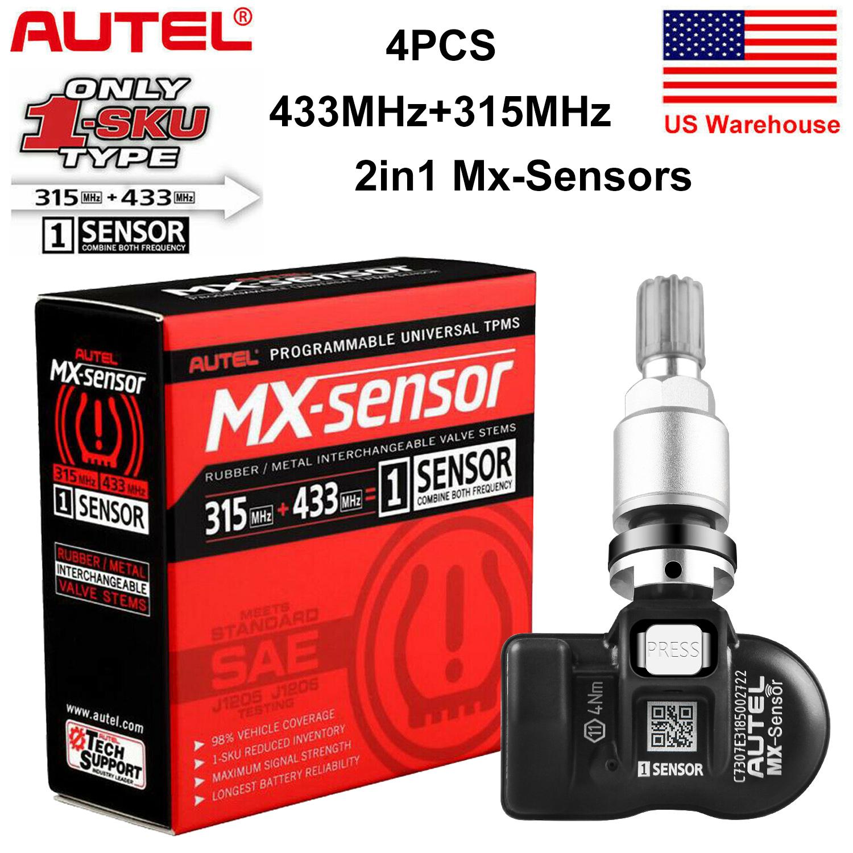 4PCS Autel MX-Sensor 315 /& 433MHz 2 in 1 Programmbale TPMS Tire Pressure Sensor