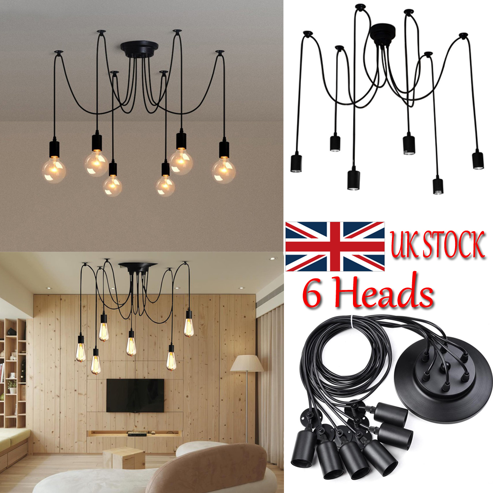 Details about 6 heads modern style ceiling lights industrial spider lamp pendant fitting loft