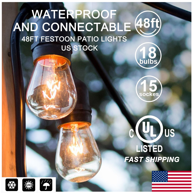 48ft Outdoor Garden Waterproof Commercial Grade Patio