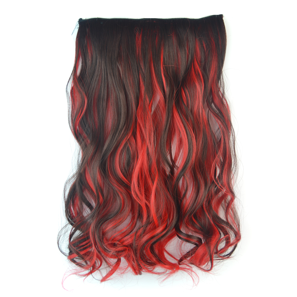 18 Synthetic Curly Hair Piece Cosplay Ombre Dip Dye Clip In Hair