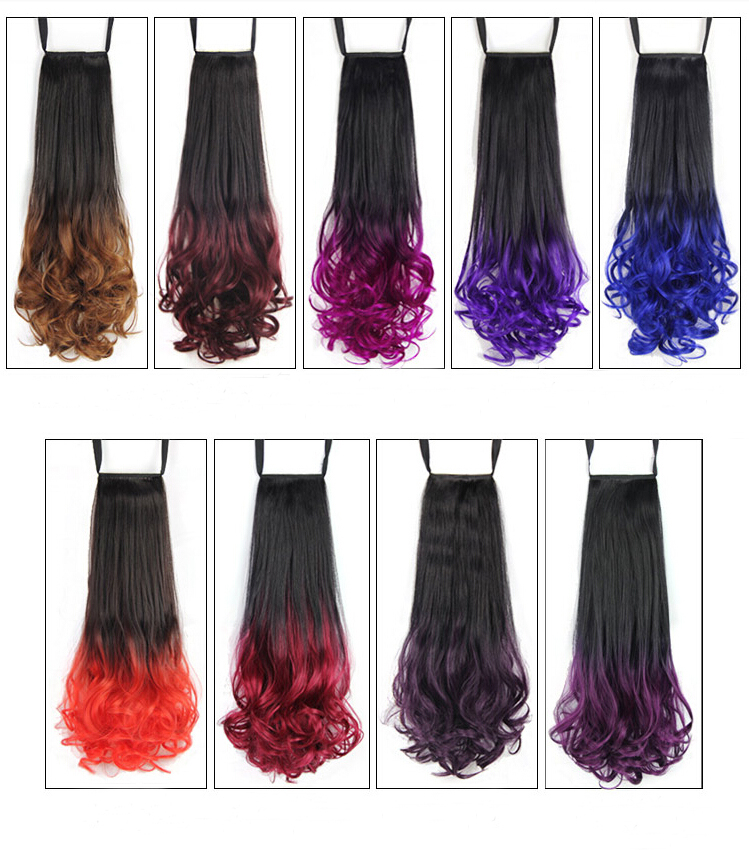 7 Colors Long Curly Ombre Style Dip Dye Clip In Party Hair