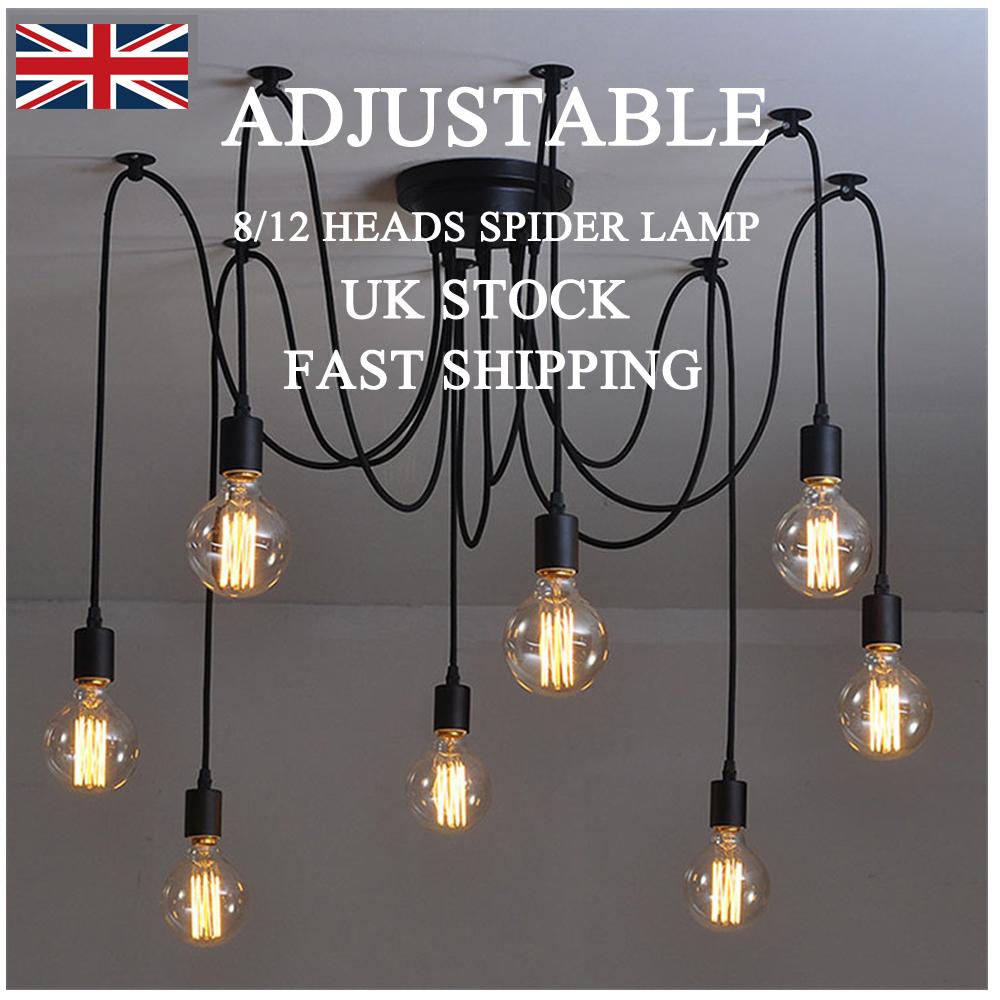 Details about 8 12 head vintage adjustable ceiling diy spider lamp chandelier light fitting uk