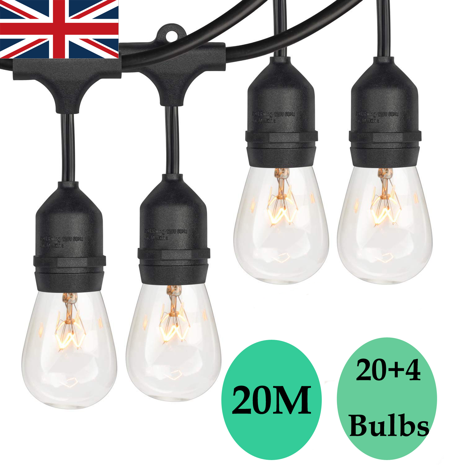 Details About 3 X 20m S14 Festoon Garden String Lights Christmas Outdoor Party Lighting Diy Uk