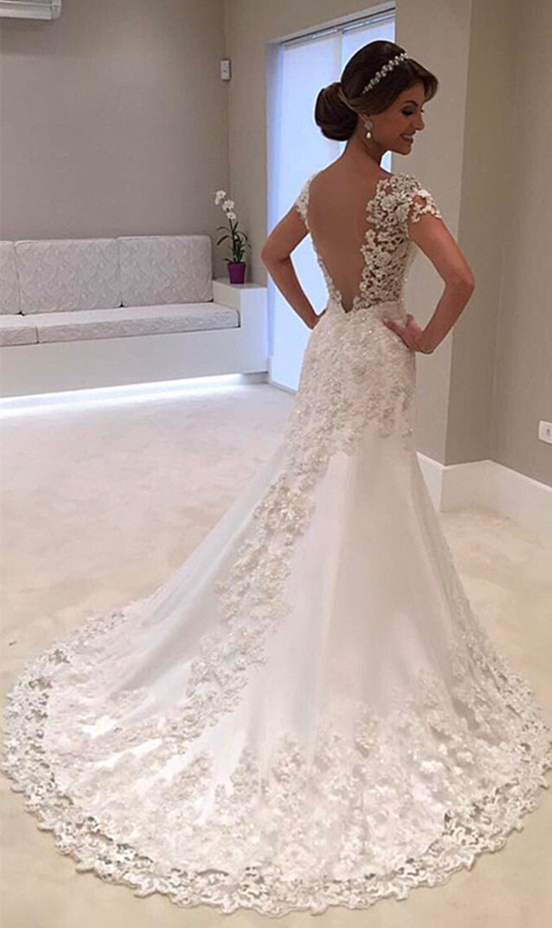 White Ivory Lace Wedding Dress Bridal Gown custom Size UK 6 8 10 12 ...