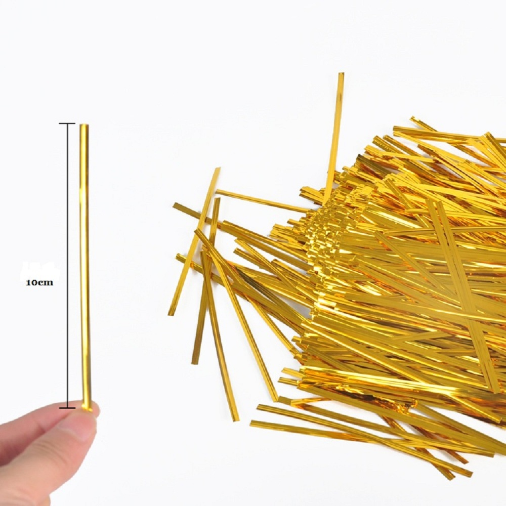 """100 4/"""" GOLD  METALLIC FOIL TWIST TIES,FOR CELLO BAGS"""